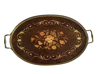 Italian Inlaid Floral Marquetry Serving Tray Brass Edge with Handles