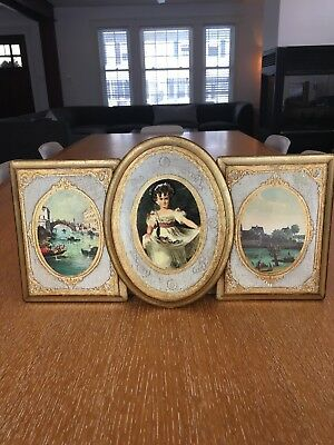 Set Of (3) Vintage Italian Florentine Wooden Wall Plaques