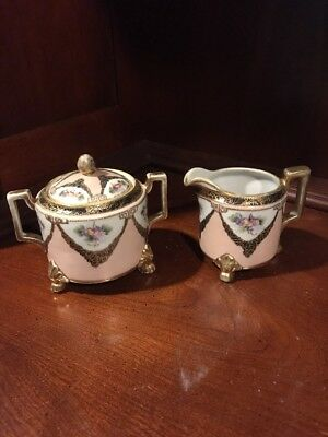 Nippon Pink Hand Painted Flowers Creamer and Sugar Bowl with Lid Gold Trim