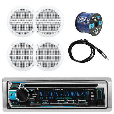 "Bluetooth CD Receiver W/ Shield Cover + 4x 6.5"" Speakers, Antenna, 50ft Wire"