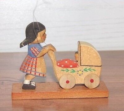 Vintage Germany Girl Pushing Baby Stroller Carved Hand Painted Wooden Ornament