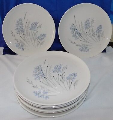 """Lot 8 Syracuse True China Carefree Blue Grass Lunch Luncheon Plates Dish 8"""" Vtg"""