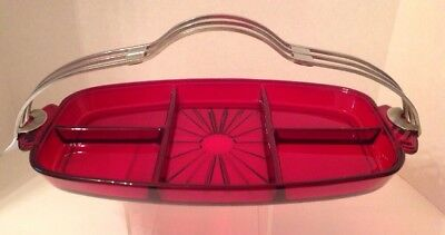 Vintage 5 Section Serving Dish Caddy With Handle Ruby Red Very Good Condition
