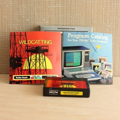 Vintage TRS 80 Radio Shack Wildcatting Game Color Computer Cartridge 26-3067