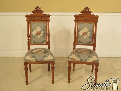 28467: Pair Antique Italian Carved Walnut Upholstered Occasional Chairs