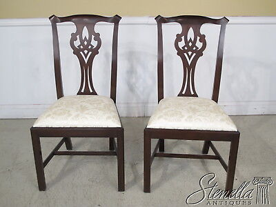 36706B: Pair HENKEL HARRIS model #102 Chippendale Mahogany Dining Chairs ~ New