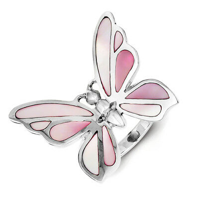 925 Sterling Silver Fancy Butterfly Pink Mother of Pearl Ring