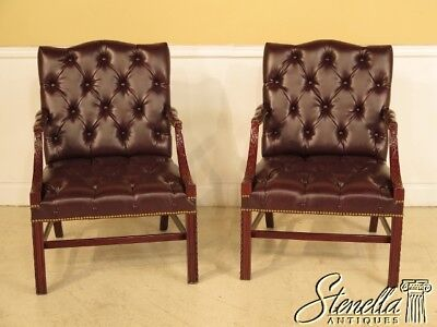 L38103/L38104: Pair Chippendale Mahogany Tufted Leather Library Chairs ~ NEW