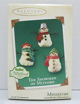 2003 Hallmark Miniature Keepsake Ornament THE SNOWMEN OF MITFORD Set of 3 MIB