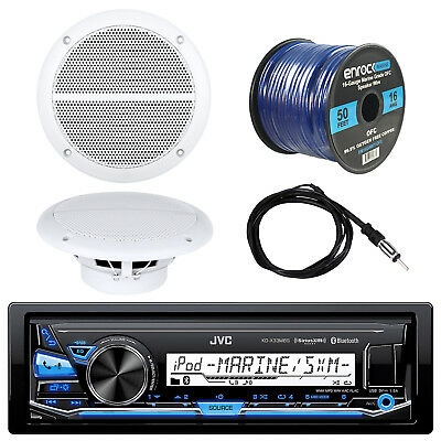 "JVC Bluetooth Marine Car Receiver, 2x Boat 6.5"" Speakers, Antenna, 50Ft 16G Wire"