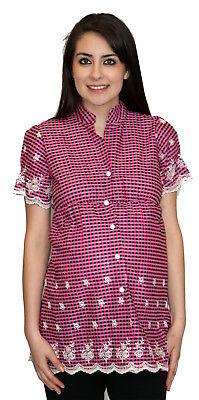 Maternity Short Sleeve Top Womens Pregnancy Blouse Plad Pink Plaid