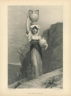 Antique Beautiful Young Maiden Woman Water Jug Bearer Thistle Flowers Old Print