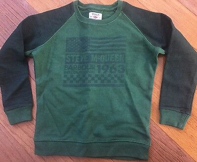 New Barbour International Steve McQueen Sweatshirt Green Cotton sz 6-7
