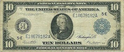1914 $10 Richmond Federal Reserve ~ World War I Currency ~ Nice Collector Grade
