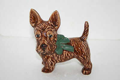 Vintage Art Pottery Hand Painted Brown Scottie Dog Terrier Figurine Green Bow