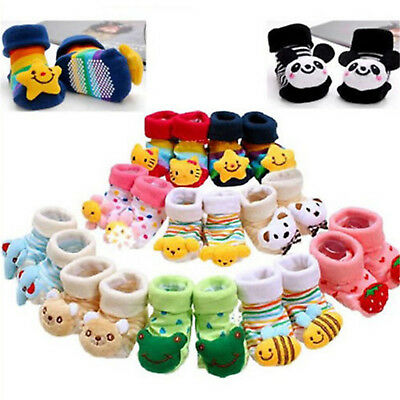 Baby Girl Boy Anti-slip Socks Cartoon Newborn Slipper Shoes Boots 0-12 Months NE