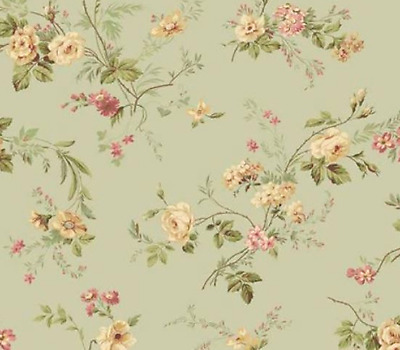 Wallpaper By the Yard - Shabby Chic Painted Cottage Floral Green French Country