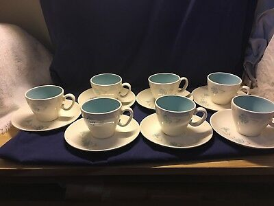 Seven (7) Taylor, Smith Taylor Ever Yours Boutonniere Flat Cup & Saucer Set