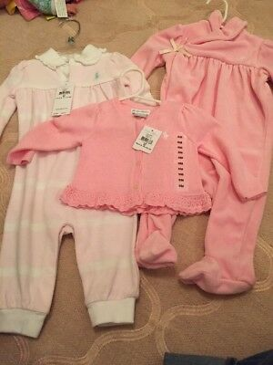 3 Piece Lot Ralph Lauren Baby Girl 6m Cardigan One Piece Outfits Velour NWT