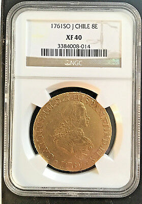 CHILE-1761-SO-J-8-Escudo-Gold-Coin-NGC-XF40-CHARLES III VERY RARE