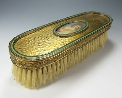 Antique French ormolu gold brass clothes brush miniature painted portrait