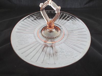 Vintage Mayfair Open Rose Pink Depression Glass Center Handled Tidbit Tray