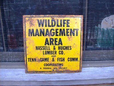 Vintage Wildlife Management Area Sign, Tennessee Lumber Co.