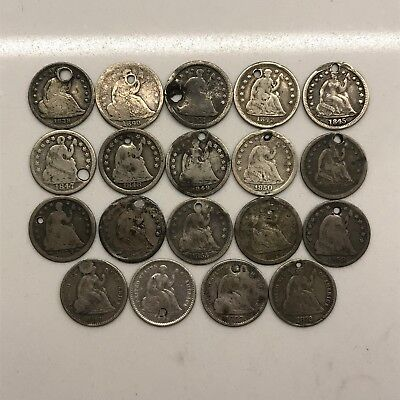 1838-1872 H10C Seated Liberty Half Dimes: Lot of 19 Different Dates: Holed