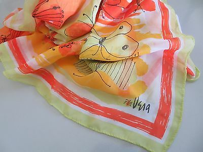 "Huge 44"" Large Vera Neumann Wrap Scarf Yellow Orange Butterfly Graphic Ladybug"