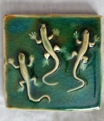 Tile Green Salamanders Art Pottery Unique Handmade Collectable #32