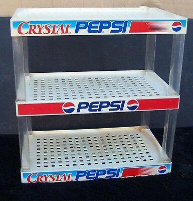 PEPSI Display Rack CRYSTAL PEPSI 3 Tiers RARE Pop Can Soda  Stand Shelf VTG