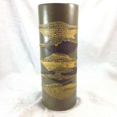 Royal Haeger Brown Rust Earth Wrap Cylindrical Vase Pottery