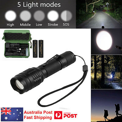 CREE XM-L T6 LED Zoomable 5000Lm 18650 USB Rechargeable Battery Flashlight Torch
