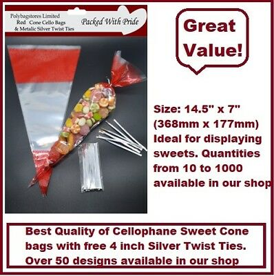 10 RED Cone Cello Cellophane Sweet /Party Bags With Free Silver Ties