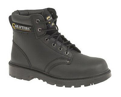 d1a074f5906 GRAFTERS EXTERNAL TOE Cap Safety Mens Black Leather Works Boots UK6 ...