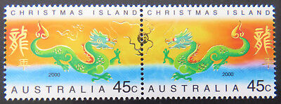2000 Christmas Island Stamps - Lunar New Year- Year of Dragon - Set of 2 MNH