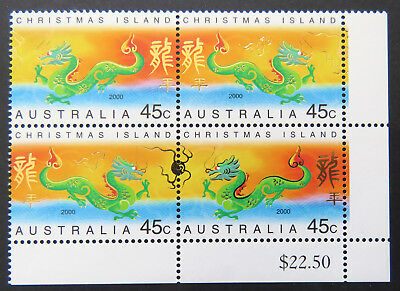 2000 Christmas Island Stamps - Lunar New Year- Year of Dragon-Cnr Blk-Set 2x2MNH