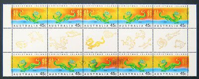 2000 Christmas Island Stamps - Lunar New Year- Year of Dragon-Gutter-Set 2x5MNH