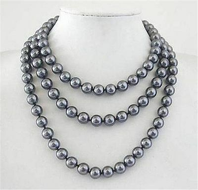 Beautiful 10mm South Sea Dark Grey Shell Pearl Necklace Long 35'' AAA