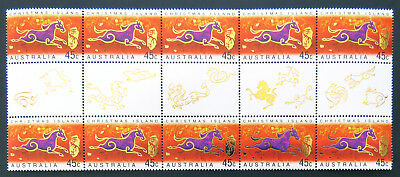 2002 Christmas Island Stamps - Lunar New Year- Year of Horse-Gutter 10x45c MNH