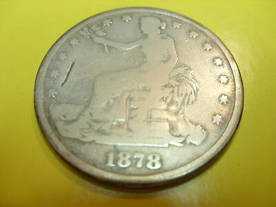 1878 S Trade Dollar g 90% silver chinese NO Chop marks china barter GOOD Details