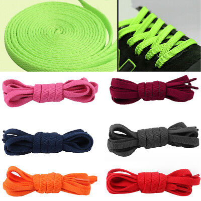 KQ_ 2x Shoe Laces Flat Coloured Trainer Boot Shoes Short Long Thin Shoelaces Eye