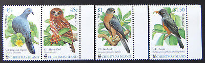 2002 Christmas Island Stamps - Christmas Island Birds - Set of 4 - Tabs MNH