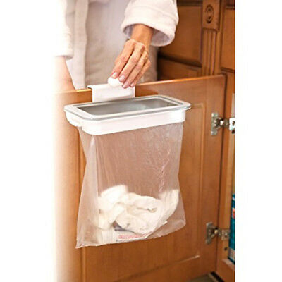 KQ_ Kitchen Cabinet Door Basket Hanging Trash Can Waste Bin Garbage Rack Tool Dr