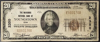 1929 $20.00 National Currency, The Mahoning National Bank of Youngstown, Ohio!