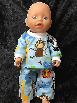 Dolls clothes made to fit 32cm Baby Born  Dolls (size Small).  Pyjamas