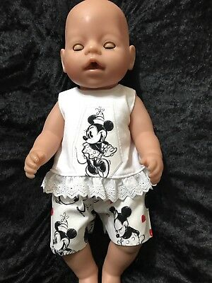 Dolls clothes made to fit 42cm Baby Born Dolls (size Med).  2 Piece Set