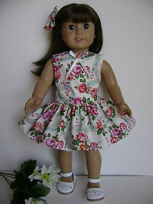 "Doll Clothes 18"" Fits American Girl 'ribbons & Roses ' Dress & Hair Bow New Usa!"