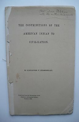 Circa 1903 American Indian Booklet Alexander Chamberlain Author Signed