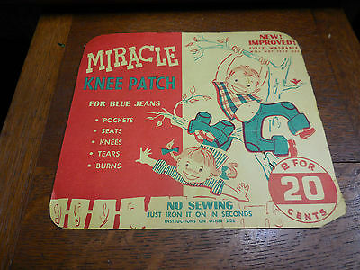 Vtg Levi Blue Jean 1950's MIRACLE Display Card & Knee Patch Set for Jacket